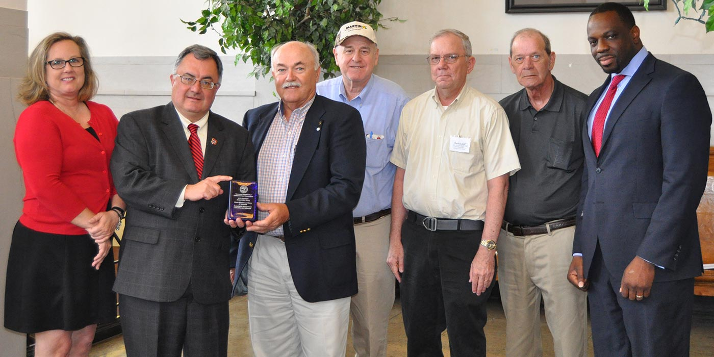 Marvin Employees of Ripley, TN accepting the 2015 Sustainable Transportation Award